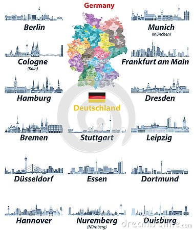 Free Vector Set Of Germany Largest Cities Skylines Icons In Tints Of Blue Color Palette. Map And Flag Of Germany Stock Photos - 138986643