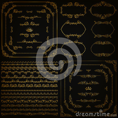 Free Vector Set Of Gold Decorative Borders, Frame Stock Images - 76535124