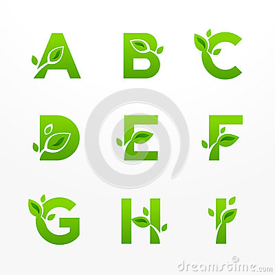 Free Vector Set Of Green Eco Letters Logo With Leaves. Ecological Fon Stock Images - 48278794