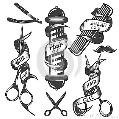 Free Vector Set Of Hair Salon Vector Labels In Vintage Style. Hair Cut Beauty And Barber Shop, Scissors, Blade. Stock Photo - 68992530