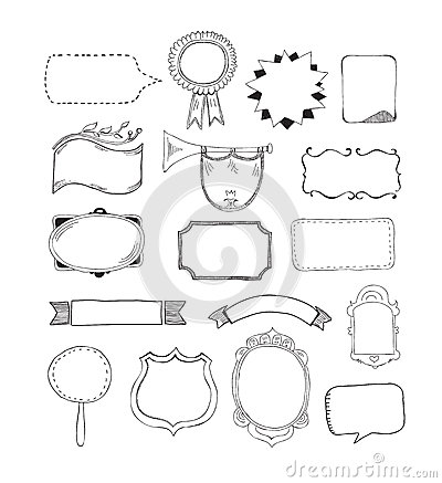Free Vector Set Of Hand Drawn Frames Royalty Free Stock Photography - 31102667