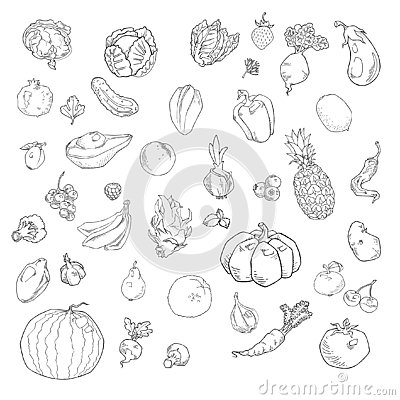 Free Vector Set Of Hand Drawn Fruits And Vegetables Stock Photography - 139402502