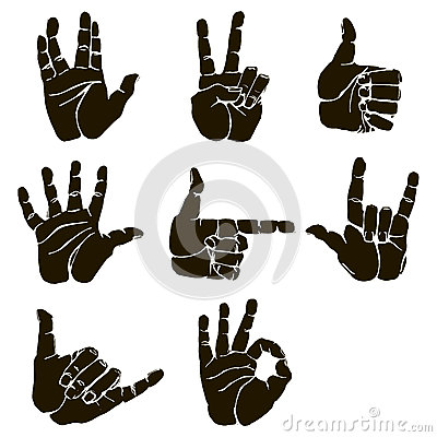 Free Vector Set Of Hand Gesture Royalty Free Stock Image - 72519326