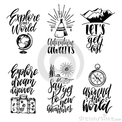 Free Vector Set Of Hand Lettering With Phrases About Traveling And Sketches Of Touristic Symbols. Stock Photography - 101487162
