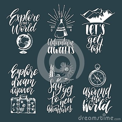 Free Vector Set Of Hand Lettering With Phrases About Traveling And Sketches Of Touristic Symbols. Stock Photos - 101487763