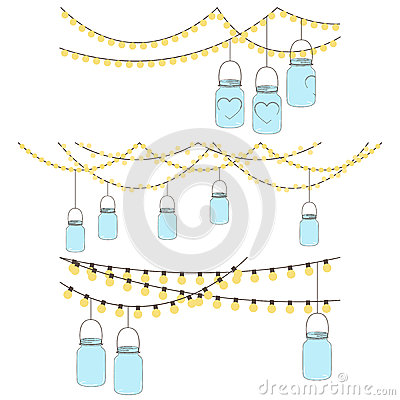 Free Vector Set Of Hanging Glass Jar Lights Royalty Free Stock Photos - 37983958