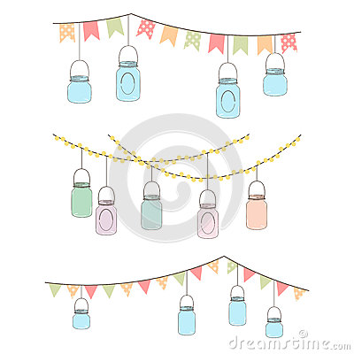 Free Vector Set Of Hanging Glass Jar Lights Royalty Free Stock Image - 37983966