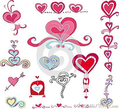 Free Vector Set Of Hearts Royalty Free Stock Image - 4003076