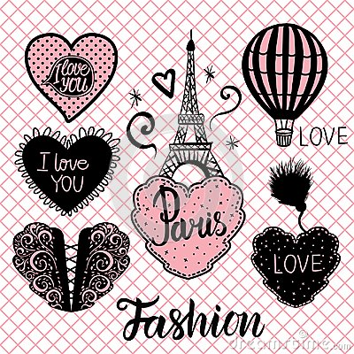 Free Vector Set Of Hearts Hand Draw And The Eiffel Tower And Balloon. Royalty Free Stock Photo - 117230065