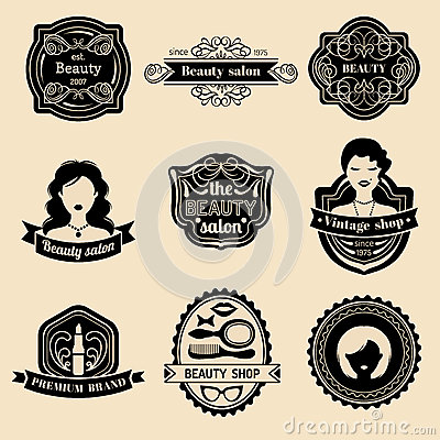 Free Vector Set Of Hipster Woman Logo Of Beauty Salon Or Vintage Shop. Retro Icons Collection In Flat Style. Royalty Free Stock Photos - 87788418