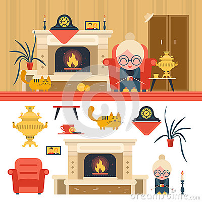 Free Vector Set Of House Living Room Interior Objects In Flat Style. Grandma Sitting In Chair Next To Fireplace. Stock Photography - 74403112