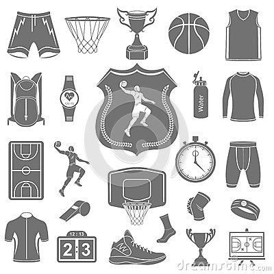 Free Vector Set Of Icons Basketball Royalty Free Stock Photography - 54110507