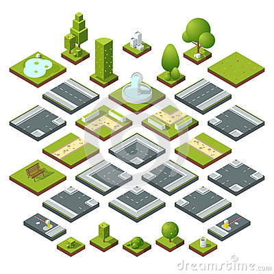 Free Vector Set Of Isometric City Elements, Crossroads, Road, Garden Decoration. Benches, Fountain Trees And Bushes Royalty Free Stock Images - 92440939