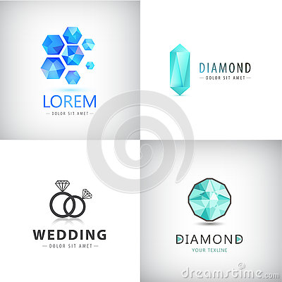 Free Vector Set Of Jewelery Logos, Diamond Illustration, Crystal Icons Royalty Free Stock Photography - 73918537