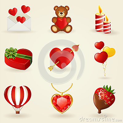 Free Vector Set Of Love And Romantic Icons. Royalty Free Stock Images - 36368849