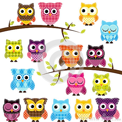 Free Vector Set Of Patchwork Or Quilt Style Owls Stock Image - 37937681