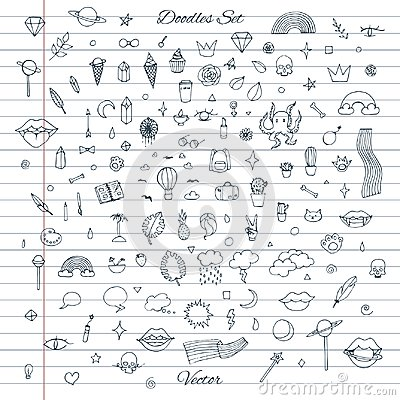 Free Vector Set Of Random Doodles With Clouds, Rainbows, Lips, Cats, Cactus, Plants Stock Photography - 118130332