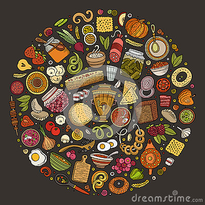 Free Vector Set Of Russian Food Cartoon Doodle Objects Stock Photography - 94665942