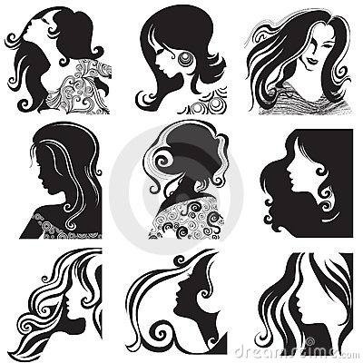 Free Vector Set Of Silhouette - Beautiful Woman Stock Photos - 11934323