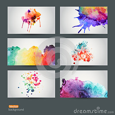 Free Vector Set Of Six Watercolor Abstract Hand Drawn Background, Vect Royalty Free Stock Photos - 50383758
