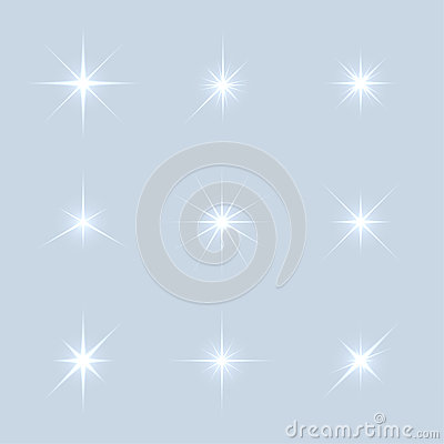 Free Vector Set Of Sparkle Lights Stars Royalty Free Stock Image - 57818566