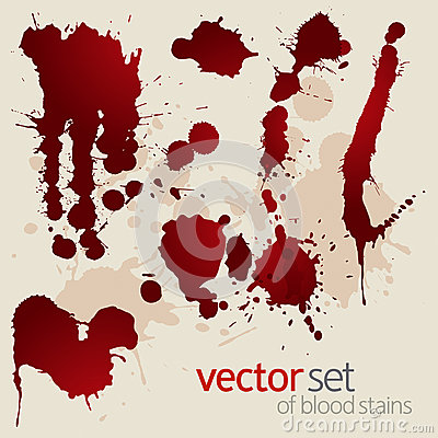 Free Vector Set Of Splattered Blood Stains Stock Photography - 25933242