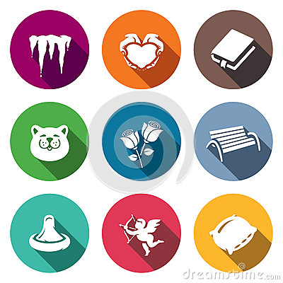 Free Vector Set Of Spring Dating Icons. Melting, Romance, Poetry, March, Bouquet, Walking, Love, Emotion, Bed. Stock Images - 76495504