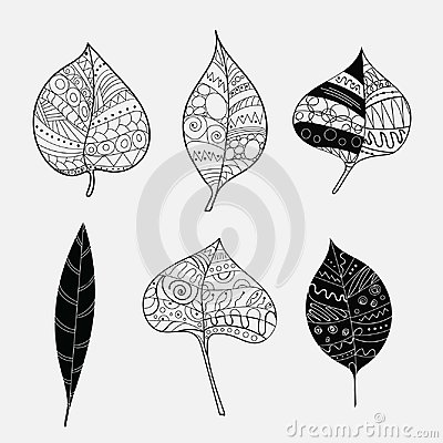 Free Vector Set Of Stylized Tree Leaves. Fallen Autumn Leaves With Ornaments. Collection Of Black And White Plants With Royalty Free Stock Photography - 107130467
