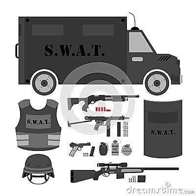Free Vector Set Of Swat, Police Gear. Swat Bus, Shield, Helmet, Shotg Royalty Free Stock Photo - 83056505