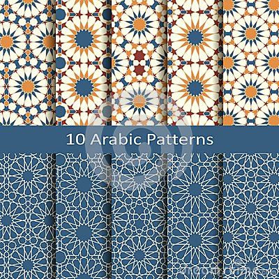 Free Vector Set Of Ten Seamless Traditional Arabic Geometric Patterns. Design For Covers, Textile, Packaging Stock Photo - 111486090