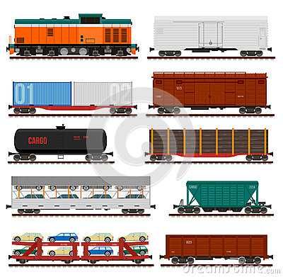 Free Vector Set Of Train Cargo Wagons, Tanks, Cars Royalty Free Stock Images - 68805839