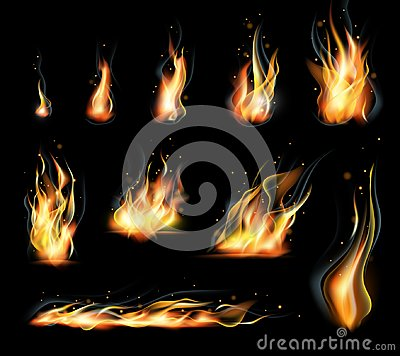 Free Vector  Set Of Transparent Realistic Flame Effects. Black Background Stock Photo - 99292860