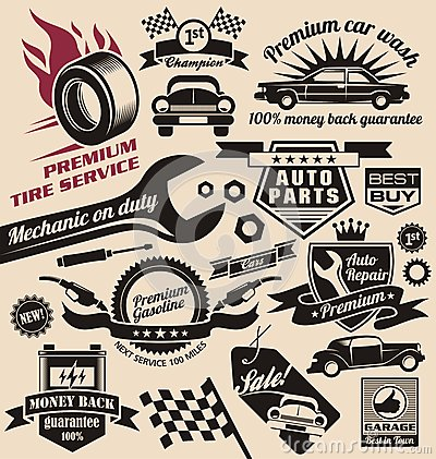 Free Vector Set Of Vintage Car Symbols And Logos Royalty Free Stock Photo - 28722985