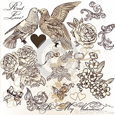 Free Vector Set Of Vintage Elements On Love Theme Stock Images - 37394054