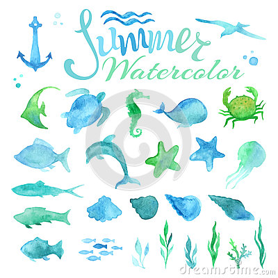 Free Vector Set Of Watercolor Marine Life. Royalty Free Stock Photos - 57742108