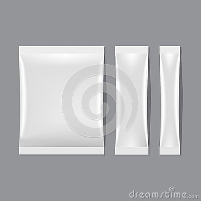 Free Vector Set Of White Blank Sachet Packaging Royalty Free Stock Image - 33951136
