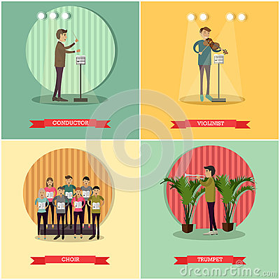 Vector set of orchestra concept posters in flat style Vector Illustration