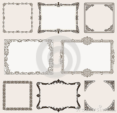 Free Vector Set. Ornate Frames And Vintage Scroll Elements Royalty Free Stock Photo - 44284005
