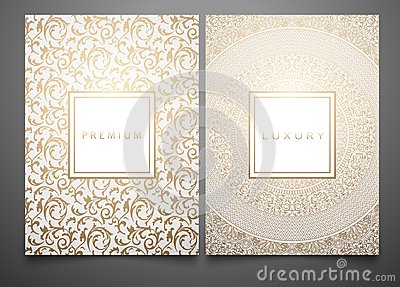 Vector set packaging templates with different golden floral damask texture for luxury product. White background and frame Vector Illustration