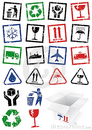 Vector set of packing symbol stamps.