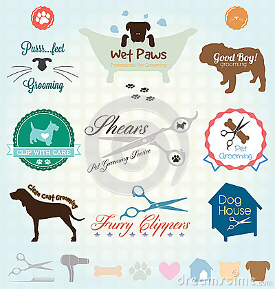 Free Vector Set: Pet Grooming Labels Royalty Free Stock Image - 32409786