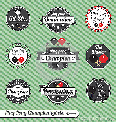 Vector Set: Ping Pong Champion Labels and Icons