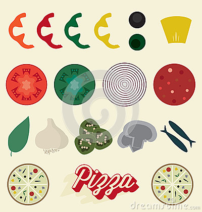 Free Vector Set: Pizza Toppings Collection Royalty Free Stock Photo - 37951735