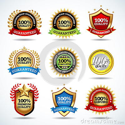 Vector set of 100% quality guarantee, satisfaction guaranteed labels, stamps, banners, badges, crests, labels. Stock Photo