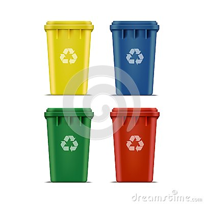 Vector Set of Recycle Bins for Trash and Garbage Vector Illustration
