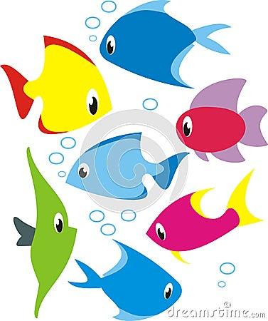 Vector set of reef fish.