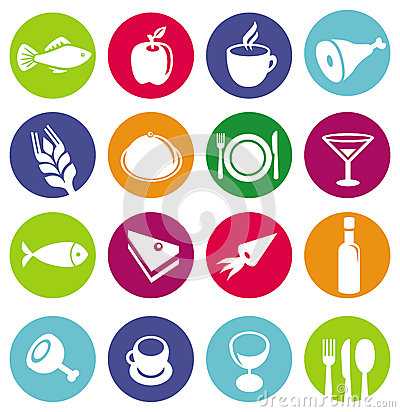 Vector set or restaurant icons and food