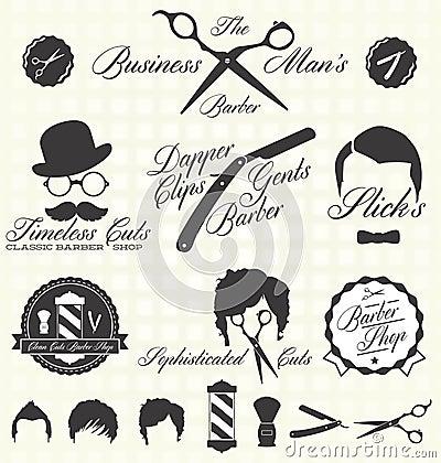 Free Vector Set: Retro Barber Shop Labels Stock Photo - 31492650