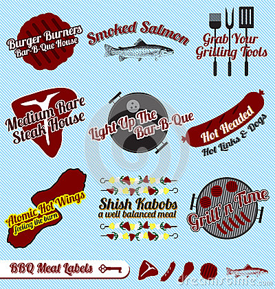 Free Vector Set: Retro BBQ And Meats Labels Royalty Free Stock Photos - 27356328