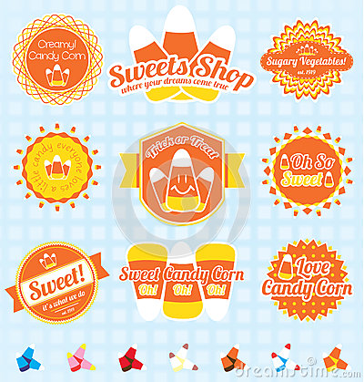 Vector Set: Retro Candy Corn Labels